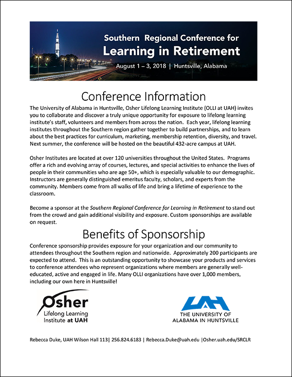 Sponsor and Vendor Information packet PDF | 2018Southern Regional Conference for Learning in Retirement (SRCLR) | Huntsville, AL | Aug 1-3, 2018