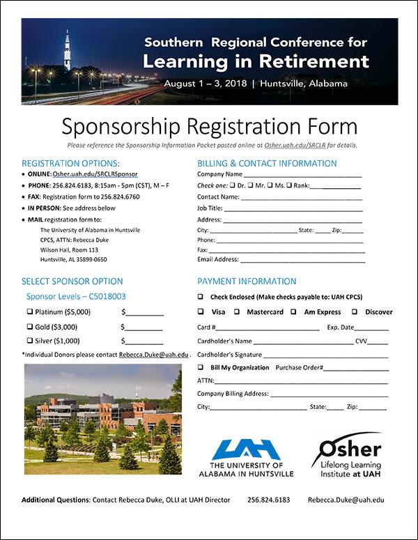 Sponsorship Registration Form PDF | 2018Southern Regional Conference for Learning in Retirement (SRCLR) | Huntsville, AL | Aug 1-3, 2018