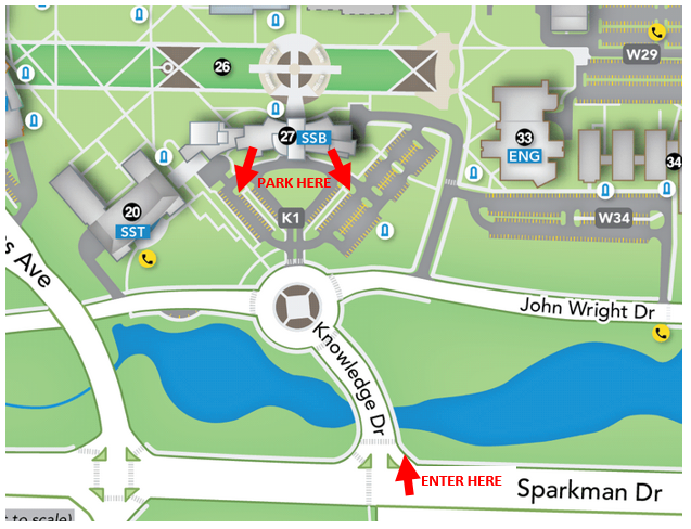 Enter campus on Knowledge Drive and park in Lot K1.